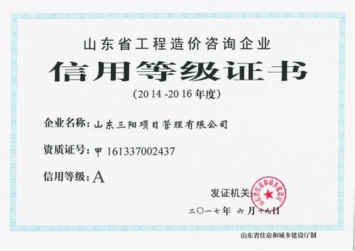 造价咨询-信用等级证书-A级